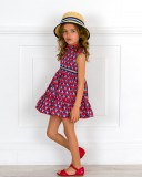 Outfit Niña Vestido Estampado Floral Rojo & Marino & Sandalia Piel Rojo & Sombrero