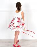 Outfit Niña Vestido Volantes Rosas & Flecos & Sandalia Piel Rojo & Sombrero Cinta Grosgrain Rojo