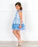 Outfit Niña Vestido Algodón Vichy Azul & Volantes & Alpargatas Olivia Crudo & Flores Empolvados