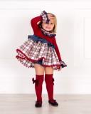 Outfit Niña Vestido Combinado & Braguita Cuadros Granate