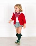 Outfit Bebé Blusa Crudo & Braguita Volante Pata de Gallo Verde & Chaqueta Punto
