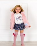 Outfit Niña Conjunto Unicornio, Abrigo Acolchado & Calzas Rosa Palo