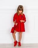 Mon Petit Bonbon Vestido Niña Rojo & Franja Rayas Lurex Negro