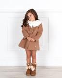 Outfit Niña Vestido Zig-Zag Gris con Abrigo & Botas Camel