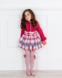 Outfit Niña Vestido Efecto 2 Piezas Rosa Fresa & Celeste