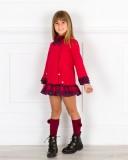 Outfit Vestido Niña Punto Roma & Tartán Granate