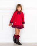 Dolce Petit Vestido Niña Volante Tartán Rojo