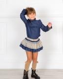 Outfit Niña Conjunto Blusa Denim & Falda-Short Cuadros Beige & Abrigo Punto Beige
