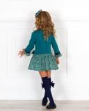 Outfit Niña Vestido Punto Verde & Falda Estampado Liberty & Diadema