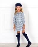 Outfit Niña Vestido Vichy Azul & Cuello Peter Pan Puntilla & Boina