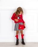 Outfit Niña Conjunto Niña Jersey Frenchie Rojo & Falda Príncipe de Gales Gris