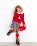 Mon Petit Bonbon Conjunto Niña Jersey Frenchie Rojo & Falda Príncipe de Gales Gris
