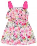 Dolce Petit Vestido Niña Tablas & Estampado Floral Fucsia