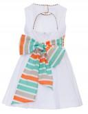 Vestido Perforado Blanco & Lazada Rayas