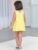 Vestido Niña Evasé con Rombos Amarillo & Blanco