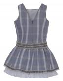Foque  Verano Vestido Lino Cuadros Azul Espalda en V