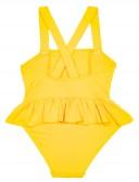 Bañador Volantes Fruncidos & Espalda Cruzada Amarillo