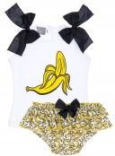 Mon Petit Bonbon Conjunto Niña Camiseta & Braguita Volantes Plátanos