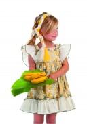 Cocote Vestido Niña Volantes Estampado Floral Mostaza & Verde