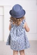 Vestido Denim Estampado Flores Azul & Blanco