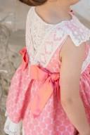 Dolce Petit Vestido Niña Jacquard Lunares Rosa & Espalda Encaje Pico Crudo
