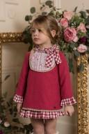 Dolce Petit Vestido Niña Volante Cuadros Vichy Rojo Fresa