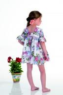 Vestido Niña Manga Francesa Estampado Floral & Lazo Pecho Blanco