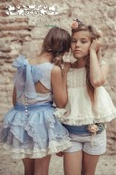 Vestido Niña Talle Bajo Azul Tul Bordado & Lazada Cuello