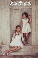 Vestido Niña Talle Bajo Tul Bordado & Manga Francesa Crudo