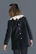 Vestido Terciopelo Azul & Cuello Encaje Crudo