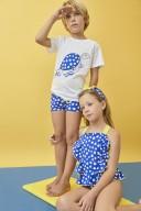 Conjunto Baño Bebé Camiseta Tortuga & Boxer Lycra Lunares Azul