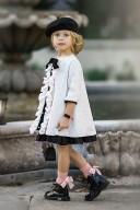 Vestido Moulins Tweed Blanco & Negro con Volante Mariposa