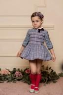 Dolce Petit Vestido Niña Príncipe de Gales Azul & Granate