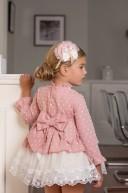 Dolce Petit Vestido Niña Sobrefalda Plumeti Rosa Empolvado & Tul Blanco Bordado