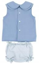 Conjunto Blusa Azul Empolvado & Short Rayas