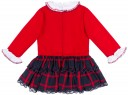 Dolce Petit Vestido Niña Cuerpo Rojo & Falda Volantes Cuadros Marino