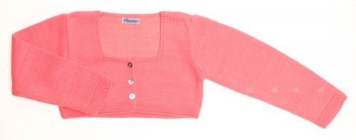 Fluor Pink Knitted Cargidan with nacar buttons