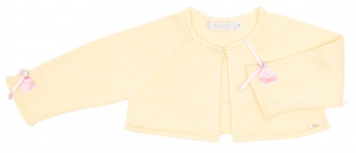 Yellow Knitted Bolero Cardigan with Pink Bows