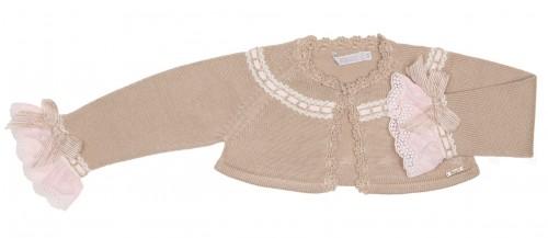 Beige & Pink Knitted Bolero Cardigan