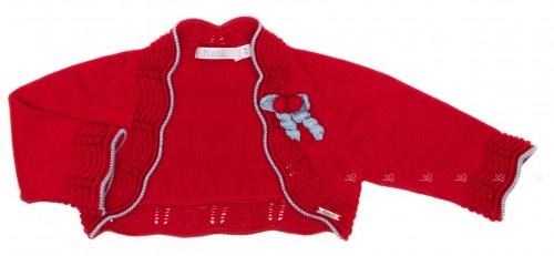 Red & Blue Cotton Knitted Bolero Cardigan