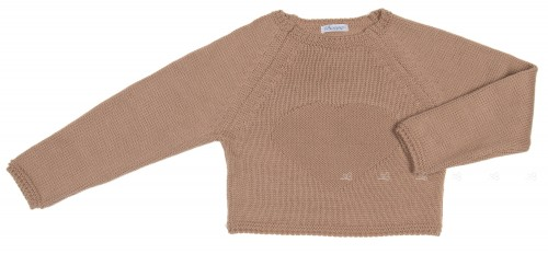 Beige Knitted Heart Cropped Sweater