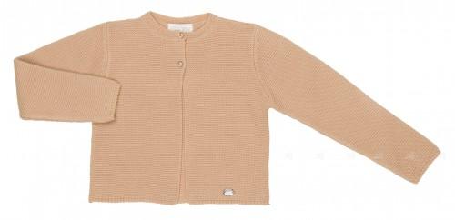 Girls Beige Knitted Cardigan