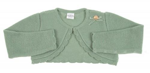 Green knitted bolero with velvet bow