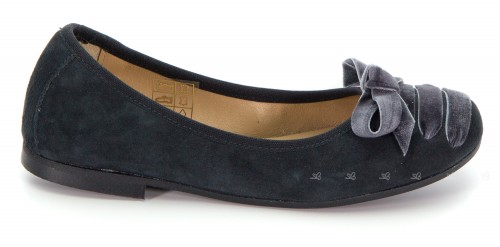 Girls Gray Suede Pumps with Velvet Bow
