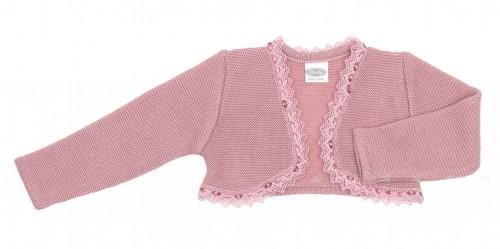 Rochy bolero rosa palo con puntilla