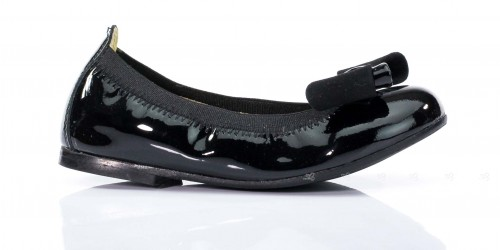 Elasticated Black Patent Ballet Pumps