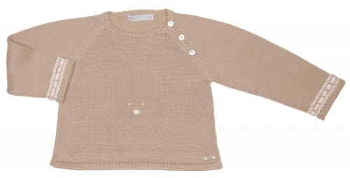Beige Knitted Bunny Sweater