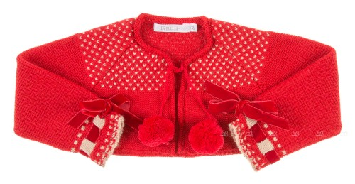 Red Knitted Cardigan witn pompoms