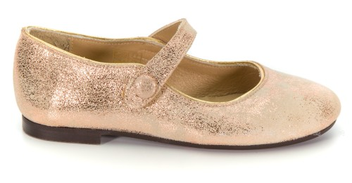 Girls Beige & Gold Patent Leather Mary Janes