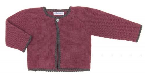 Baby Plum & Gray Knitted Cardigan